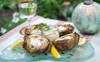 Grilled Artichokes with Lemon Herb Aioli