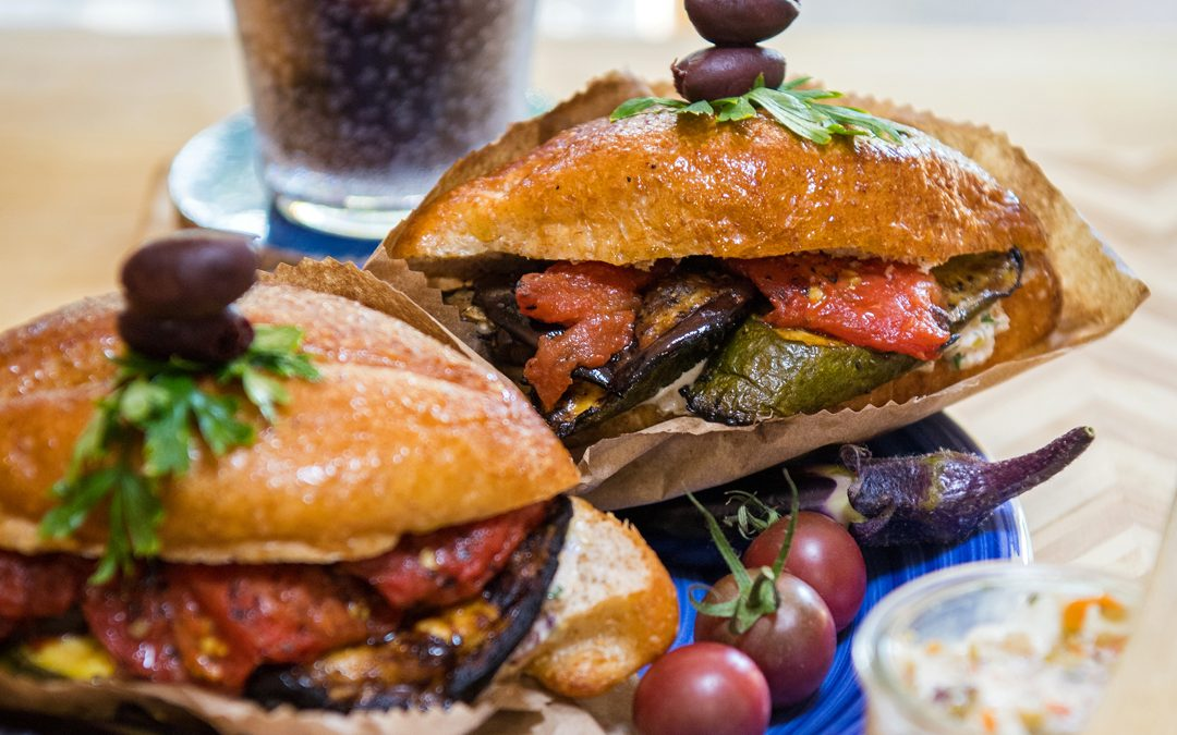 Grilled Ratatouille on Muffuletta