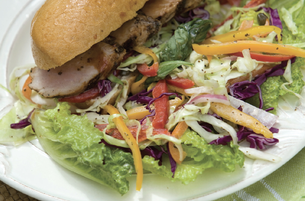 BARBECUED PORK TENDERLOIN WITH TANGY SLAW AND FRENCH BREAD